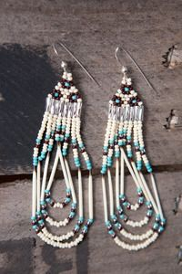 Beautiful Handcrafted Native American Seed Bead Quill Earrings  Each pair is individually made by a talented women of the Cherokee Nation      http://heidiroland.bigcartel.com/product/native-american-seed-bead-quill-earrings