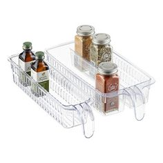 "Handled Double Spice Basket Clear  $8.99  Container Store 5-3/4"" x 12-1/8"" x 2-5/8"" h 10066755"