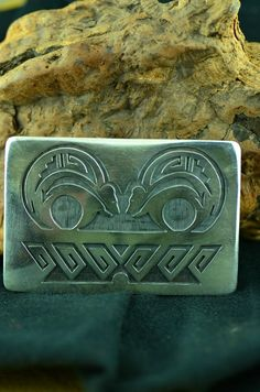 Hopi - Sterling Silver Double Bear Belt Buckle by Les Martin (From a Private Collection)