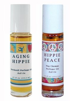 Aging Hippie (Patchouli) + Hippie Peace (Nag Champa) Perfume Oil Roll On - Set of 2 by Mountain Country Soap. $18.90. Get back in the groove with Aging Hippie made with pure patchouli essentail oil.. Escape to your peaceful place and reminisce with Hippie Peace made with nag champa oil.. * FREE product sample with every order*  A great way to try our other products and scents.. Die hard patchouli and nag champa lovers rejoice!. This set of two .35 oz roll on p...