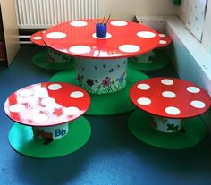 Table and chairs made with old cable reels Table and chairs made with old cable reels Cable Reel Table, Wooden Cable Reel, Wire Spool, Wooden Spools, Cable Reel Ideas For Kids, Cable Reel Ideas Eyfs, Eyfs Outdoor Area, Outdoor Play, Wire Reel