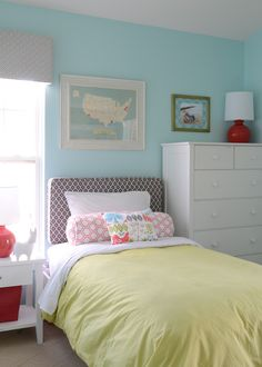 Finnian's Moon Interiors - girl's rooms - turquoise walls, turquoise wall color, yellow duvet, yellow bedding, yellow bed linens, white bedd...