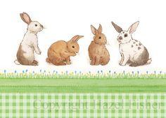 Rabbits notecard - cute bunnies illustration print