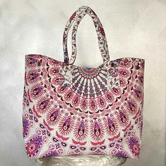 Pink Mandala cotton shopping tote - Yummy LinenMandala jhola cotton shopping totes are the best shopping bags.Our Ladies shopping bags are lovely. Textile Business, Shopping Totes, Orange Bag, Purple Bags, Beach Tote Bags, Look Chic, Slow Fashion, Large Bags, Cute Designs