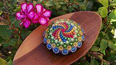Hand Painted Mandala Stone/ Big Mandala/ Wedding table decor/ Hand painted mandala rocks/ Mandala beach rock dot art hand painted/ Love gift