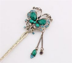 New Girl Women Fashion Green  Rhinestone Butterfly Ladies Hair Stick Hairpin 40 #Unbranded