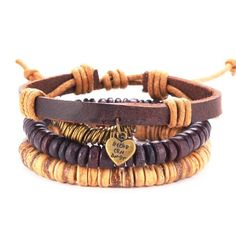Stackable Retro Handmade Leather Bracelet