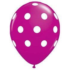 A party just isn't a party without balloons! These darlin's feature white polka dots on a solid color latex balloon. Balloon images are supplied from the manufacturer. Colors may appear different base