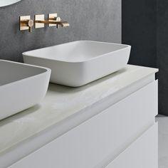 Bathroom Sink Design, Modern Bathroom Sink, Bathroom Vanity Tops, Bathroom Sink Vanity, Corian Sink, Countertop Basin, Countertops, Oak Vanity Unit, Freestanding Vanity Unit