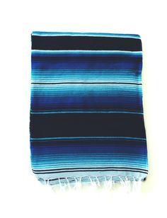 Bright Blue Mexican Serape / Saltillo Beach Blanket