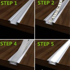 LED recessed strip lights with aluminum channel an. LED recessed strip lights with aluminum channel and plastic lens – Cove Lighting, Stair Lighting, Interior Lighting, Lighting Ideas, Hidden Lighting, Indirect Lighting, Under Cabinet Lighting, Neon Lighting, Led Kitchen Lighting