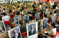 Oil Painting factory, 2006, Dafen Village, Shenzhen, China