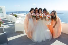 BRIDE WITH HER GIRLS...WEDDING IN SANTORINI