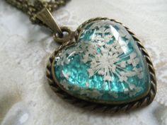 Peaceful Heart-Glass & Bronze Heart Pressed by giftforallseasons