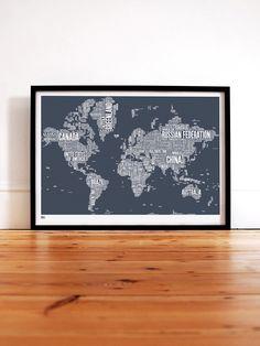 The World Type Map - Bold & Noble - Tapetorama Design Store