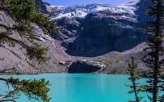 Download wallpapers Joffre Lake, Mount Matier, glacier, forest, blue lake, Canada