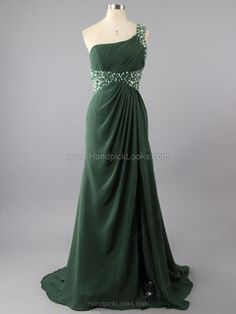 Exclusive One Shoulder Column Prom Dresses