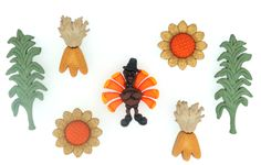 Jesse James Dress It Up Autumns Bounty Fall Buttons w Turkey /& Sunflowers