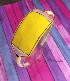 Felt Pencil Slider Headband - Back to school Yellow Girls Photo Prop - READY TO SHIP by MsJCreations on Etsy