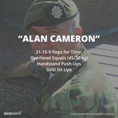"""Alan Cameron"" WOD - 21-15-9 Reps for Time: Overhead Squats (45/30 kg); Handstand Push-Ups; GHD Sit-Ups"