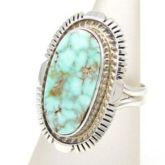 Navajo ROBERT CONCHO RCC Sterling Silver Dry Creek Turquoise Ring Size 6.75 |G R