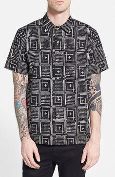 Men s Obey  Riviera  Regular Fit Short Sleeve Print Woven Shirt Camisetas  Masculinas 8c08a88c7e278