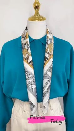 Ways To Tie Scarves, Ways To Wear A Scarf, How To Wear Scarves, Scarf Wearing Styles, Scarf Styles, Scarf Summer, Summer Scarves, Diy Fashion Hacks, Fashion Outfits
