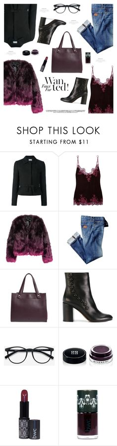 """""""Wow Factor: Faux Fur"""" by sproetje ❤ liked on Polyvore featuring RED Valentino, I.D. SARRIERI, H&M, Treasure & Bond, L'Autre Chose, EyeBuyDirect.com, Givenchy, ombre, velvet and fauxfur"""