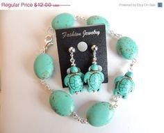 Turquoise Magnesite Turtle Earrings Turquoise by AlwaysCrafty77, $9.60