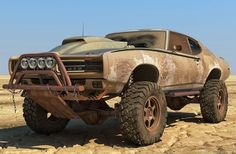 "Pontiac GTO ""Mad-Max"" Off-Road Rendering, How Does It Compare to the Real Thing? Pontiac Gto, Pontiac Judge, Chevrolet Camaro, Monster Car, Monster Trucks, Lifted Cars, Rally Car, Mad Max, Off Road"