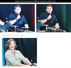 [gifset] Jensen discussing how difficult it was to recite Latin. Jared's reaction to fan's reaction!  #Jensen #Jared