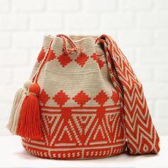 Poblado Orange Handmade Bag – Basics and Organics Mochila Crochet, Crochet Tote, Crochet Handbags, Knit Crochet, Tapestry Bag, Tapestry Crochet, Diy Bathroom, Handmade Bags, Handmade Bracelets