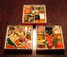 Osechi-ryōri (御節料理 or お節料理) are traditional Japanese New Year foods. The tradition started in the Heian Period (794-1185). Osechi are easily recognizable by their special boxes called jūbako (重箱), which resemble bentō boxes. Like bentō boxes, jūbako are often kept stacked before and after use.