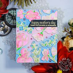 Two More Floral Mother's Day Cards – Me And My Daily Papercraft Mothers Day Cards, Happy Mothers Day, Subtle Background, Brush Markers, Happy Everything, Gold Watercolor, Distress Oxide Ink, Pen Sketch