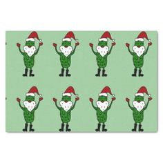 Funny Santa Claus Pickle Tissue Paper #Christmas #pickles #SantaClaus #funny #tissuepaper And www.zazzle.com/tickleyourfunnybone*