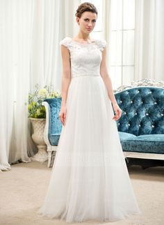 A-Line/Princess Scoop Neck Floor-Length Tulle Charmeuse Lace Wedding Dress With Beading Flower(s) Sequins (002052653)