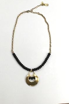 Beautiful gold and black beaded necklace with an 18 inch adjustable chain.  Black Beaded Necklace by Marjorie Baer. Accessories - Jewelry - Necklaces Iowa