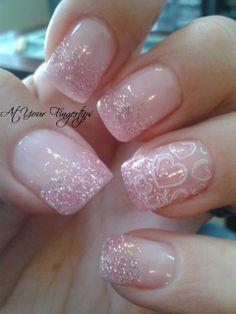pink diamond gel nails