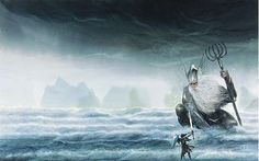 """""""Ulmo, Lord of the Waters, showed himself to Tuor son of Huor of the House of Hador beneath Vinyamar."""" Unfinished Tales of Numenor p. 28 John Howe"""