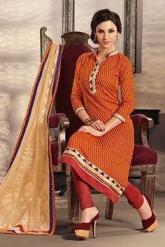 Designer party wear salwar kameez with matching bottom and dupatta.