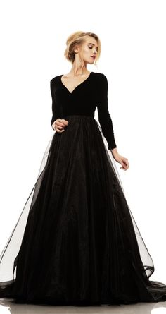 Black Prom Dress,Long Sleeve Prom Dress,Fashion Prom Gowns,MB 324
