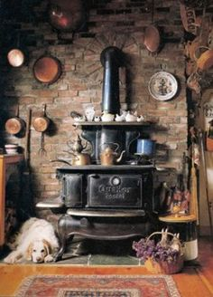 Wood stove in the living room, we should do the brick/rock behind just like this with the round design around the pipe!