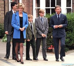 Prince William meets his new House Master Dr. Andrew Gailey, at Eton College, Berkshire..Accompanied by his brother Prince Harry, The Prince and Princess of Wales.