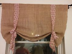 Handmade Burlap Tie Up Valance with very long straps to gather up and form a pretty Bow on Etsy, $35.99