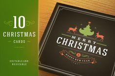 10 Christmas greeting cards + bonus by Vasya Kobelev on Creative Market