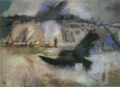 Aurel Bernáth: Winter, 1929, pastell Winter, Painting, Art, Pastel, Winter Season, Craft Art, Painting Art, Kunst, Paintings