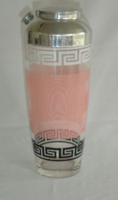 Vintagae-Mid-Century-Art-Deco-Cocktail-Shaker-Pink-and-Black