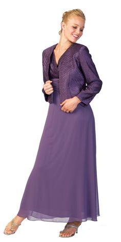 Purple Shirred Bodice with Jacket Mother of Bride Bridesmaid Dress - N5004 N5004 $120.00 on www.GirlsDressLine.Com