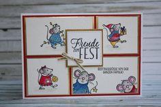 Zauberhaft-handgemacht: Von der ganzen Mäusefamilie, Festtagsmäuse, Match the Sketch Challenge, Aquarell, Weihnachten, Karte, Framelits Stickmuster, SU