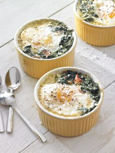 Recipe For Baked Eggs with Spinach and Prosciutto - Here, eggs are baked in a nest of spinach, prosciutto and cream for a presentation that's elegant enough for brunch entertaining.